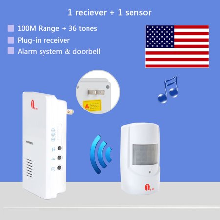 1byone Wireless Home Security Driveway Alarm and Doorbell, 1 Plug-in Receiver and 1 PIR Motion Sensor Detector Weatherproof Patrol Infrared Alert System Kit