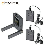 COMICA BoomX-U U2 UHF Lavalier Microphone System with Dual Receiver 48 Channels TFT Display 120m Transmission for DSLR Video Interview Broadcast Teaching
