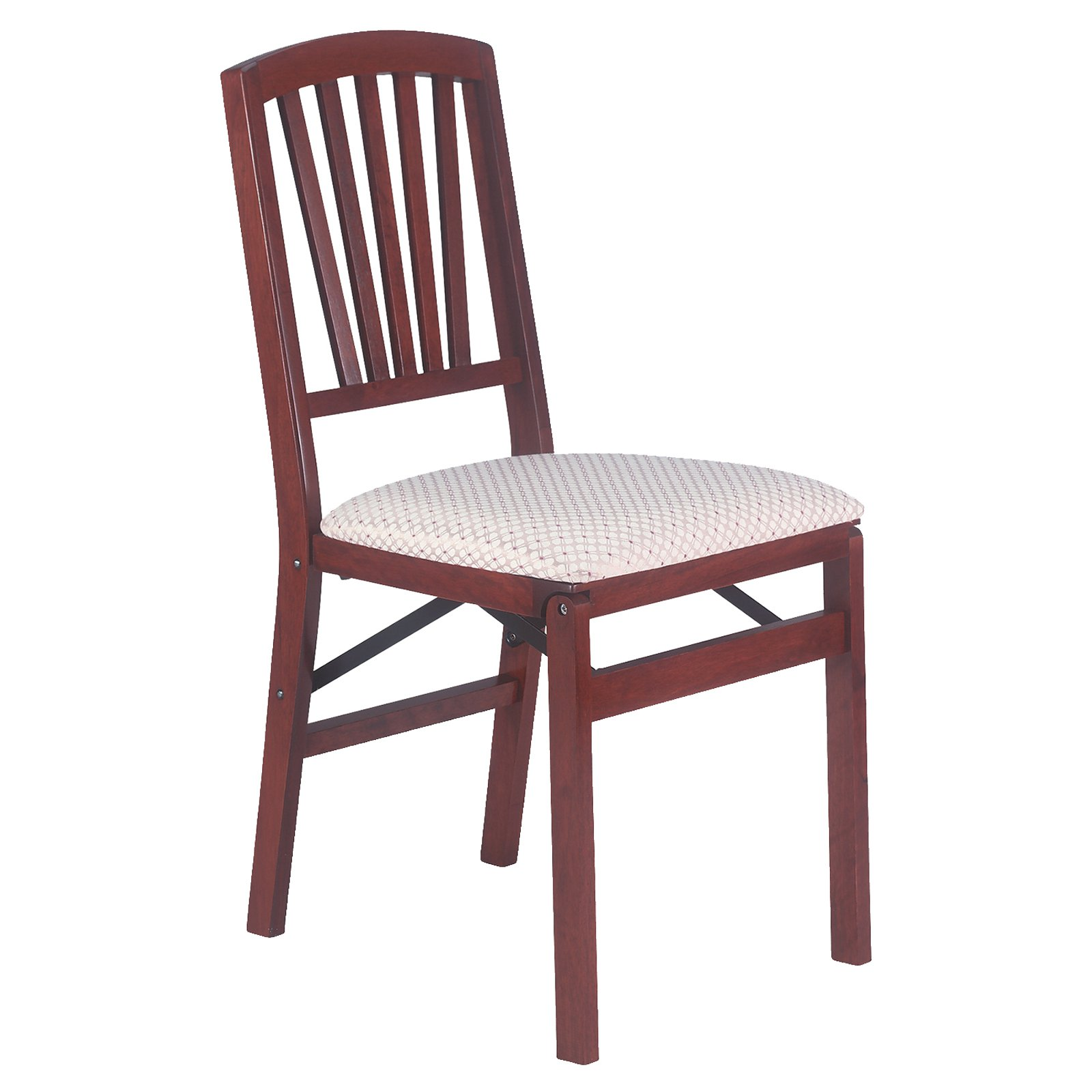 Classic Hardwood Slat back folding chair Blush fabric and light