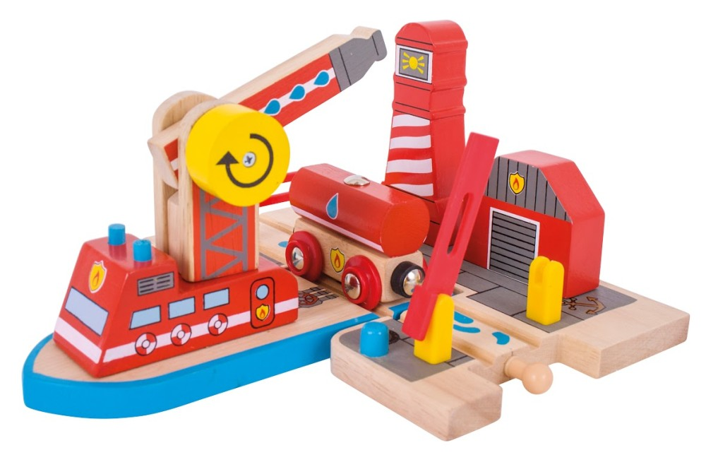 Bigjigs Toys Fire Sea Rescue Wooden Train Accessory by Big Jigs Toys