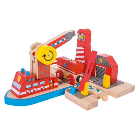 Bigjigs Toys  Fire Sea Rescue Wooden Train Accessory (Grimm Wooden Toys)