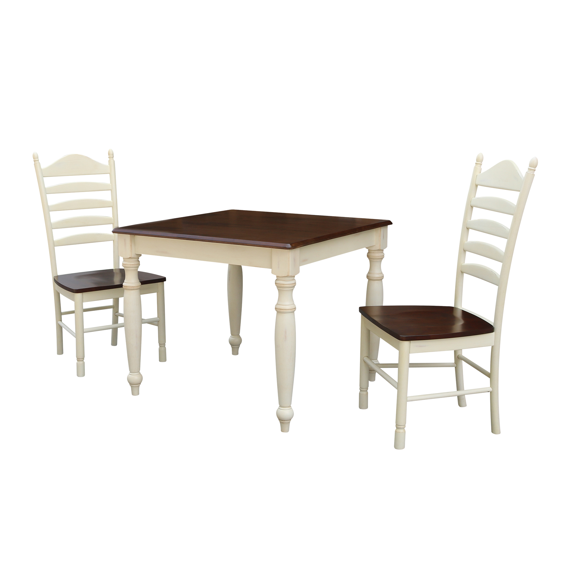 36x36 Dining Table With 2 Ladderback Chairs Alabaster Espresso 3 Piece Set