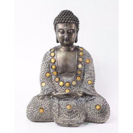 "Feng Shui 10"" Grey and Bronze Buddha Dhyani Mudra Home Decor Peace Statues"