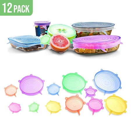Silicone Flexible Lids Multicolor – The Ultimate Stretchable Instalids Silicon Cover Lid to Fit Multiple Containers Sizes and Keep Food Fresh Heat and Freeze, Expandable, Reusable, Durable, (12