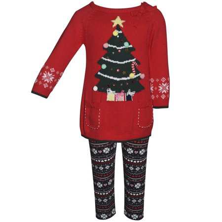 Blueberi Blvd Little Girls' Light Up Sweater and Legging 2pc Outfit Set