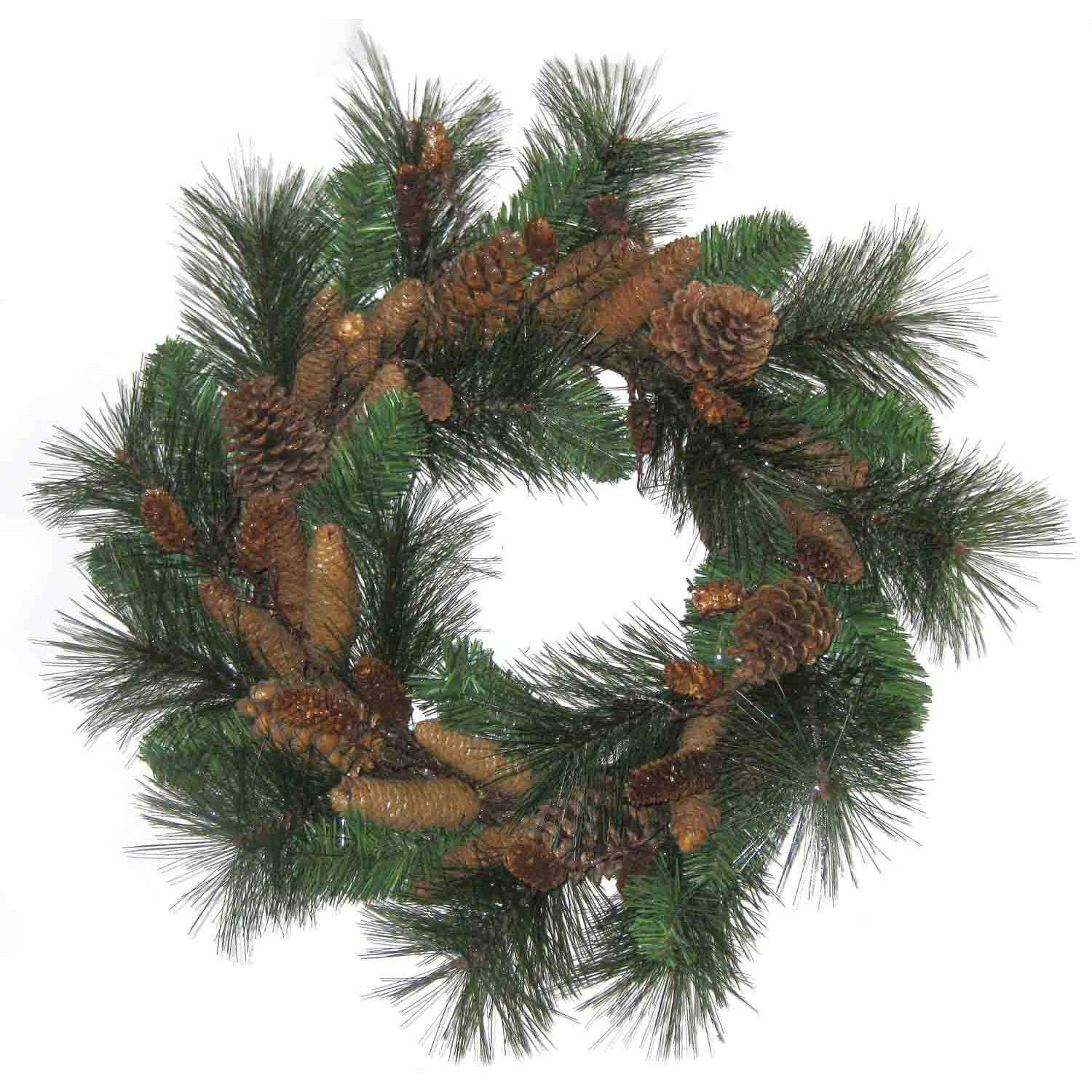 Holiday Time Christmas Wreath with Pinecones