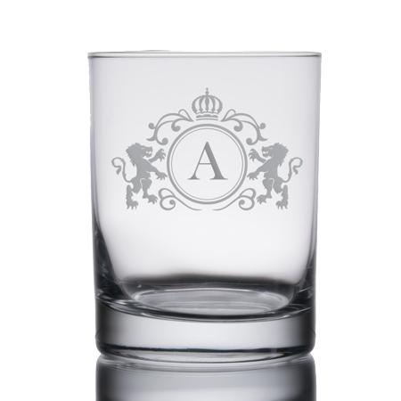 Monogrammed Initial Heavy Base Double Rocks Old Fashioned Whisky Glass (A) - Monogram Glasses
