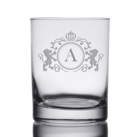 Monogrammed Initial Heavy Base Double Rocks Old Fashioned Whisky Glass