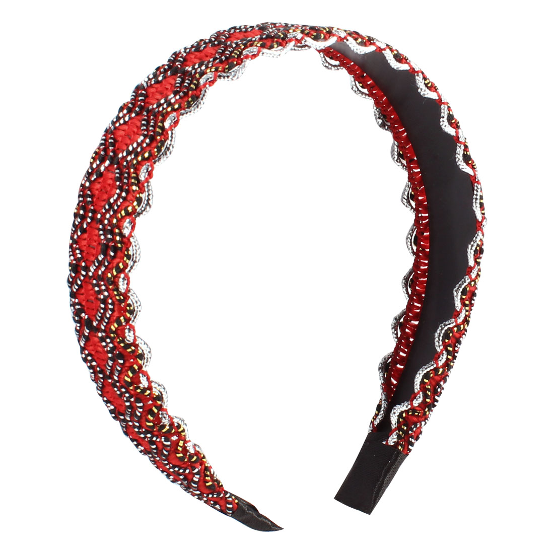 Women DIY Hairdo Red Black Wave Print Narrow Headband Hair Hoop