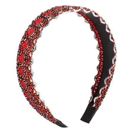 Women DIY Hairdo Red Black Wave Print Narrow Headband Hair Hoop -  Walmart.com 8d23f9f5a8f