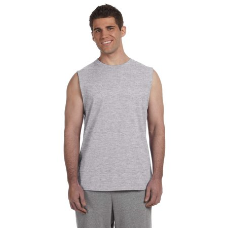 Branded Gildan Adult Ultra Cotton 6 oz Sleeveless T-Shirt - SPORT GREY - S (Instant Saving 5% & more on min 2) (Gildan Sport Grey)