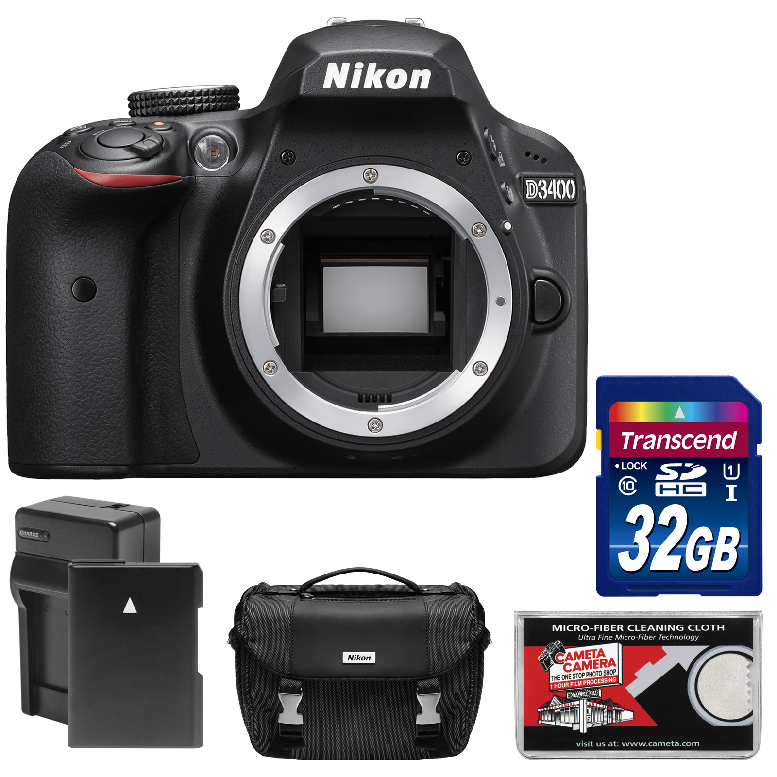 Nikon D3400 Digital SLR Camera Body (Black) - Refurbished with 32GB Card + Battery & Charger + Case + Kit