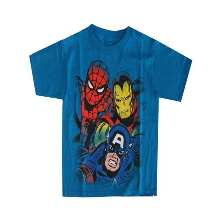 Marvel Little Boys Aqua Captain America, Spiderman Iron Man Print T-Shirt - Real Iron Man Suits For Sale