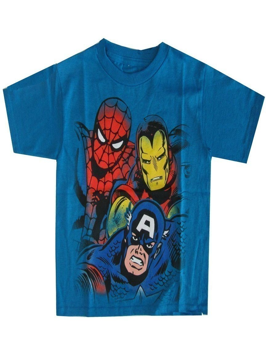 Marvel Little Boys Aqua Captain America, Spiderman Iron Man Print T-Shirt