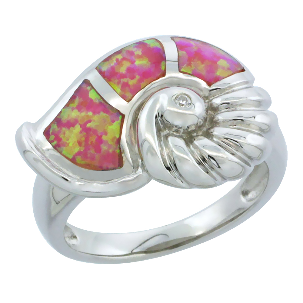 Sterling Silver Synthetic Pink Opal Snail Shell Ring, 9 16 inch by WorldJewels