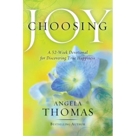 Choosing Joy - eBook A daily devotional to help you find joy and happiness in every circumstance, based on Gods word.This 52-week devotional helps readers discover the ever-illusive quality of joy. Bestselling author Angela Thomas draws from her vast experience in teaching and speaking to women all over the country. In this four-page per devotion format, Angela shares...* An inspirational message, including personal antecdotes* Biblical teaching* Questions to guide reader into self exploration, with blank lines for personal answers* Encouraging quotes* Bible scriptures for meditationThis book is the perfect choice for the many readers who work through a devotional book each year.