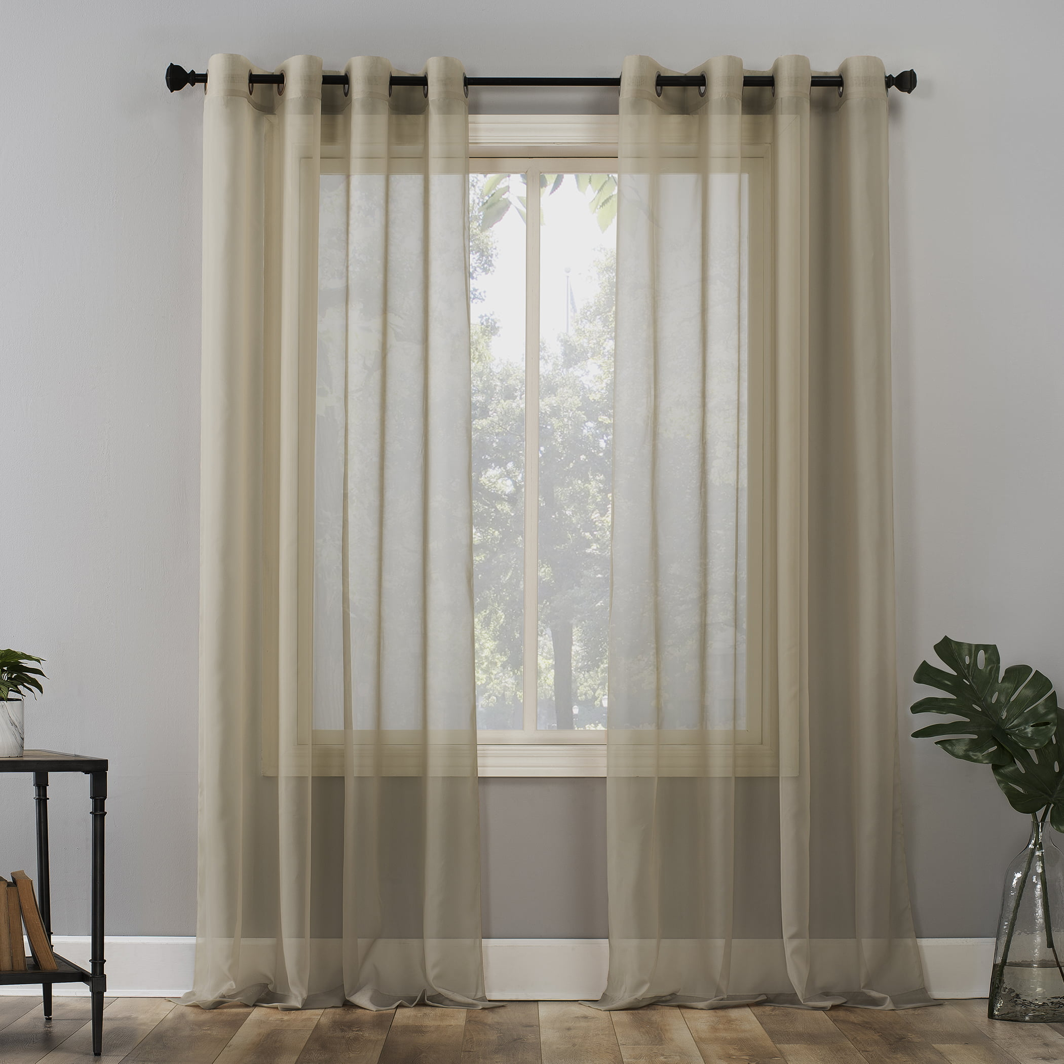 76W x 84L White with Gray Tufts Set of Two Sheer Grommet Window Curtain Panels