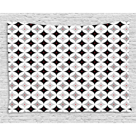 - Mid Century Tapestry, Retro Styled Atomic Composition with Vintage Diamond Line Pattern, Wall Hanging for Bedroom Living Room Dorm Decor, 60W X 40L Inches, Pale Grey Black Red, by Ambesonne