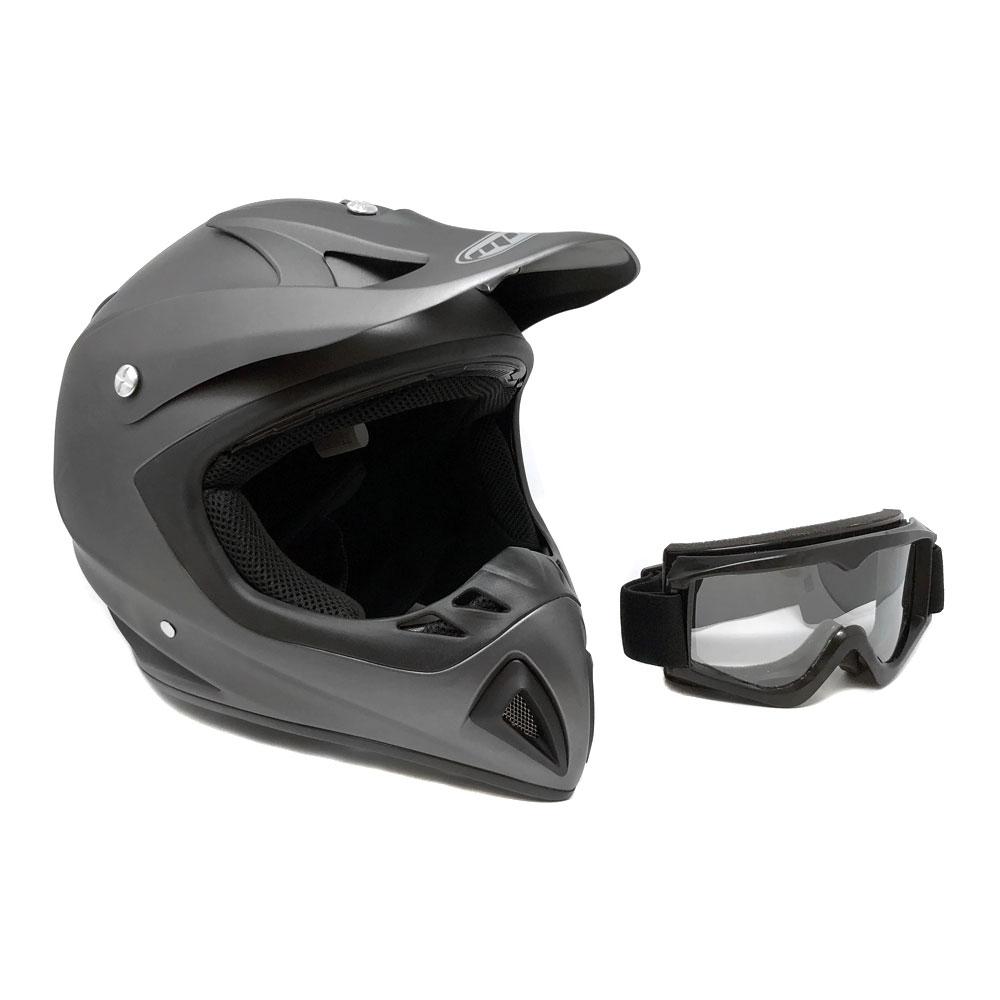 Adult Motorcycle Off Road Helmet DOT - MX ATV Dirt Bike Motocross UTV - Flat Matte Gray Medium with Riding Goggles