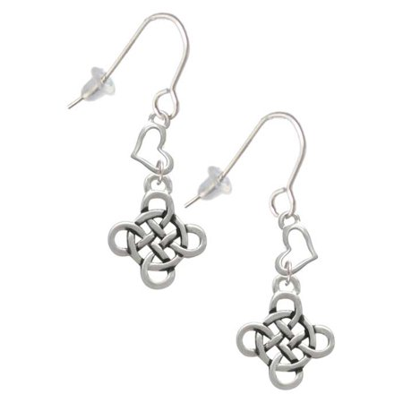 Silvertone Celtic Knot Cross Heart French Earrings