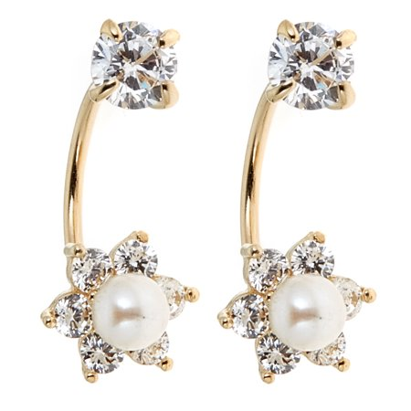 - 14k Yellow Gold Freshwater Cultured Pearl Cubic Zirconia Flower Front and Back Dangle Earrings