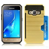 Samsung Galaxy J1 2016 / AMP2 Slim PC Metal Brushed Protective Credit Card Slot Gold