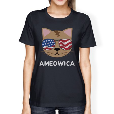 4th Of July Wedding Ideas (Ameowica Womens Navy Short Sleeve Tee Cute 4th Of July T-Shirt)