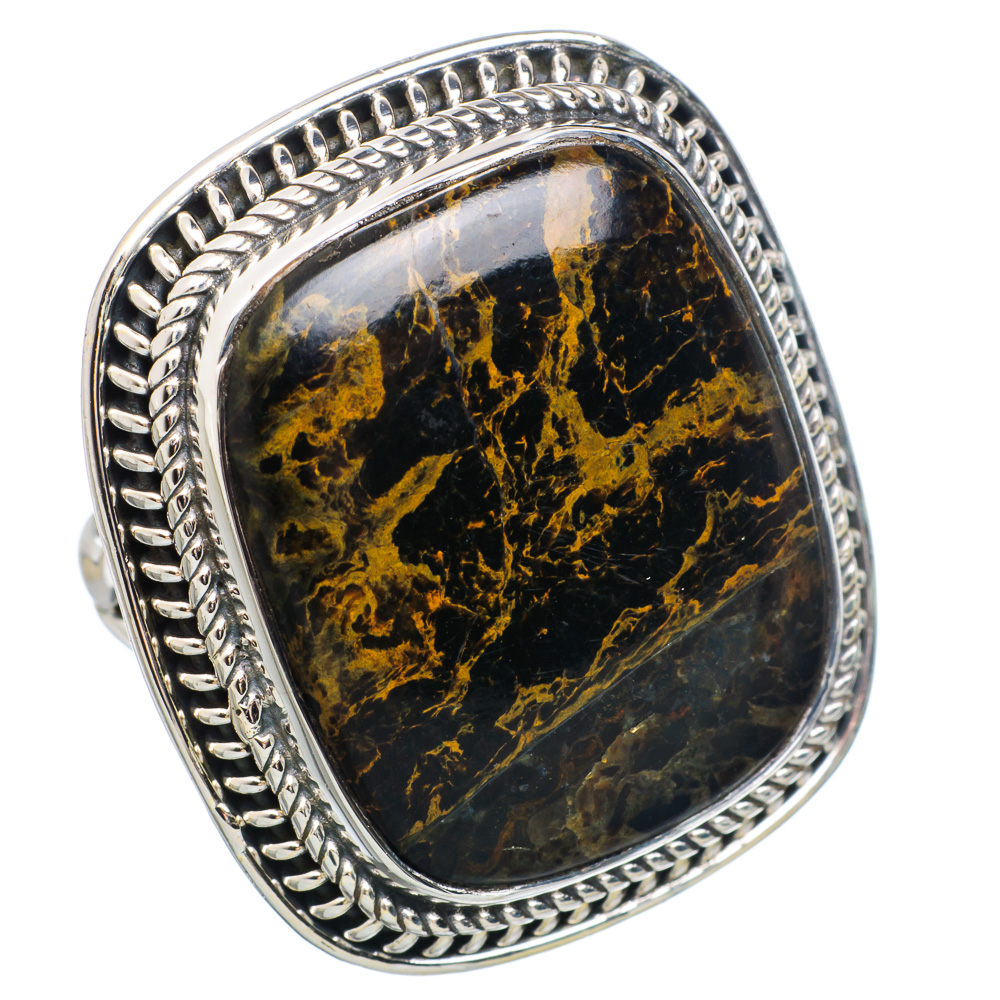 Ana Silver Co Large Pyrite In Magnetite (healer's Gold) 925 Sterling Silver Ring Size 8 RING777455