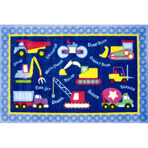 Fun Rugs Olive Kids Under Construction Truck Blue Area Rug