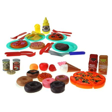 Food & Sweets Tea Time Toy Food & Dish Playset w/ Plates, Utensils, & Food
