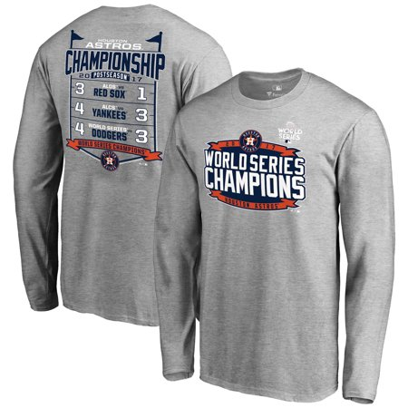 Mens Fanatics Branded Heather Gray Houston Astros 2017 World Series Champions Schedule Long Sleeve T Shirt