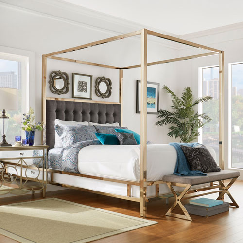 Adora Graphite Glam Champagne Brass Canopy Bed by