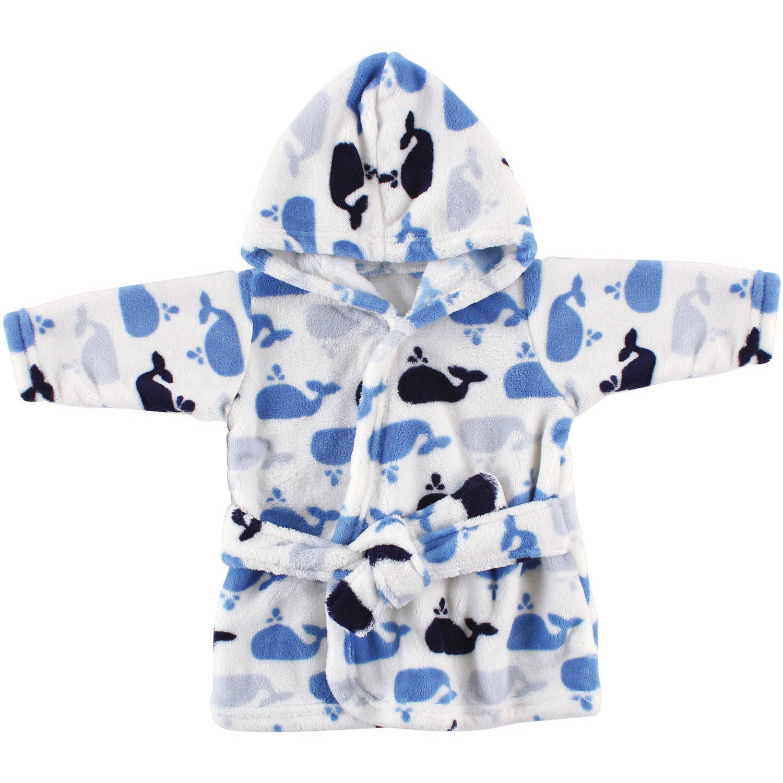Luvable Friends Newborn Baby Boys Whale Fleece Robe, Size/Ages 0-9 Months