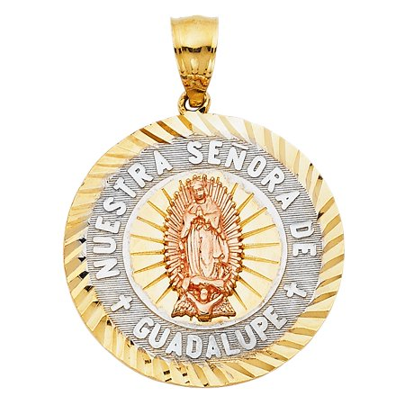 - Our Lady of Guadalupe Mother Mary Charm 14k Tri Colored Gold Circle Disc Medallion Religious 26mm x 26mm Diamond Cut Pendant