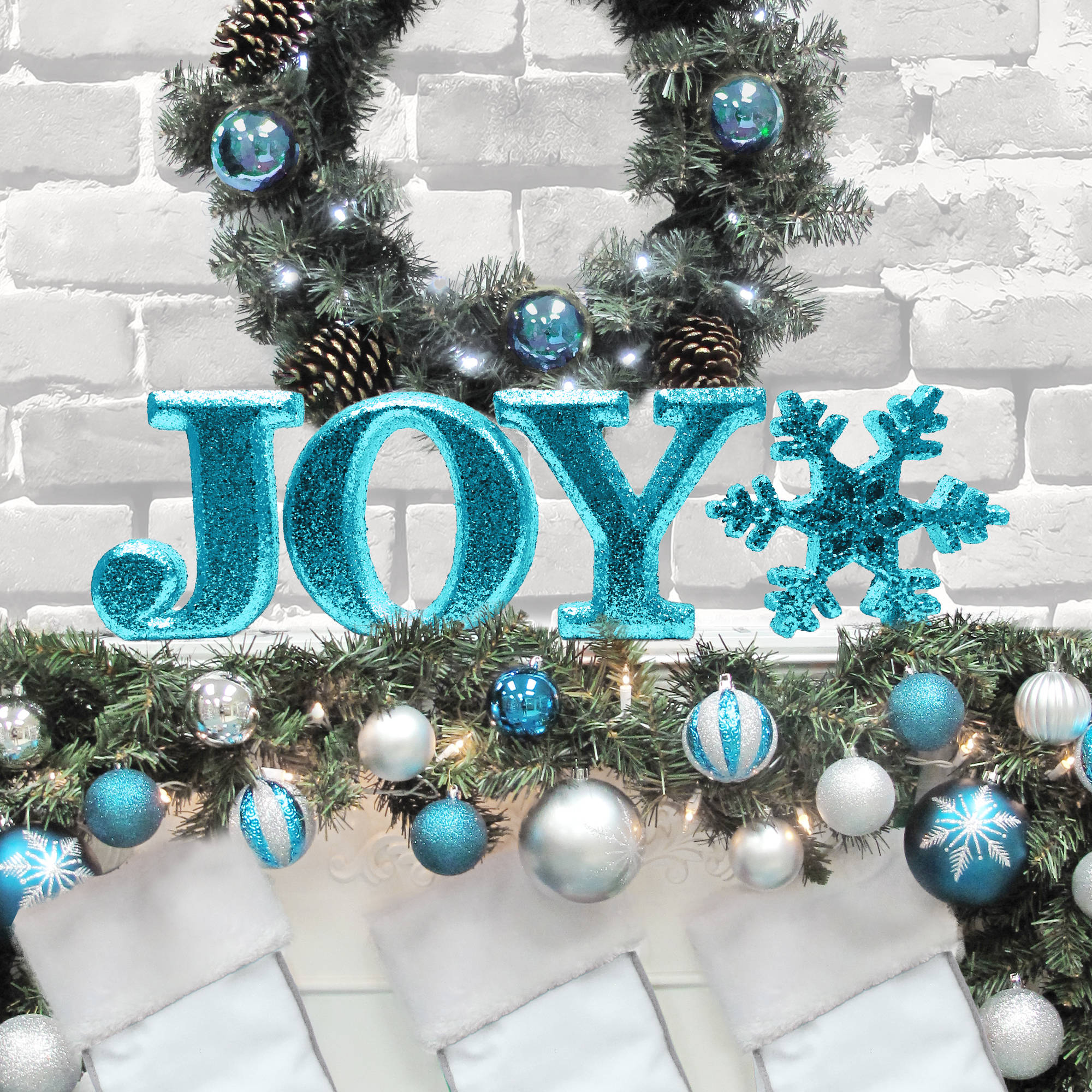 "Holiday Time Christmas Decor 8"" Decorative JOY Letter Set, Glitter Teal"