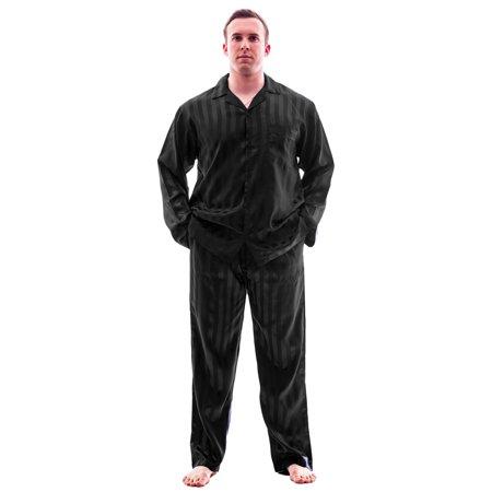 Up2date Fashion's Men's Striped Satin - Red Striped Christmas Pajamas