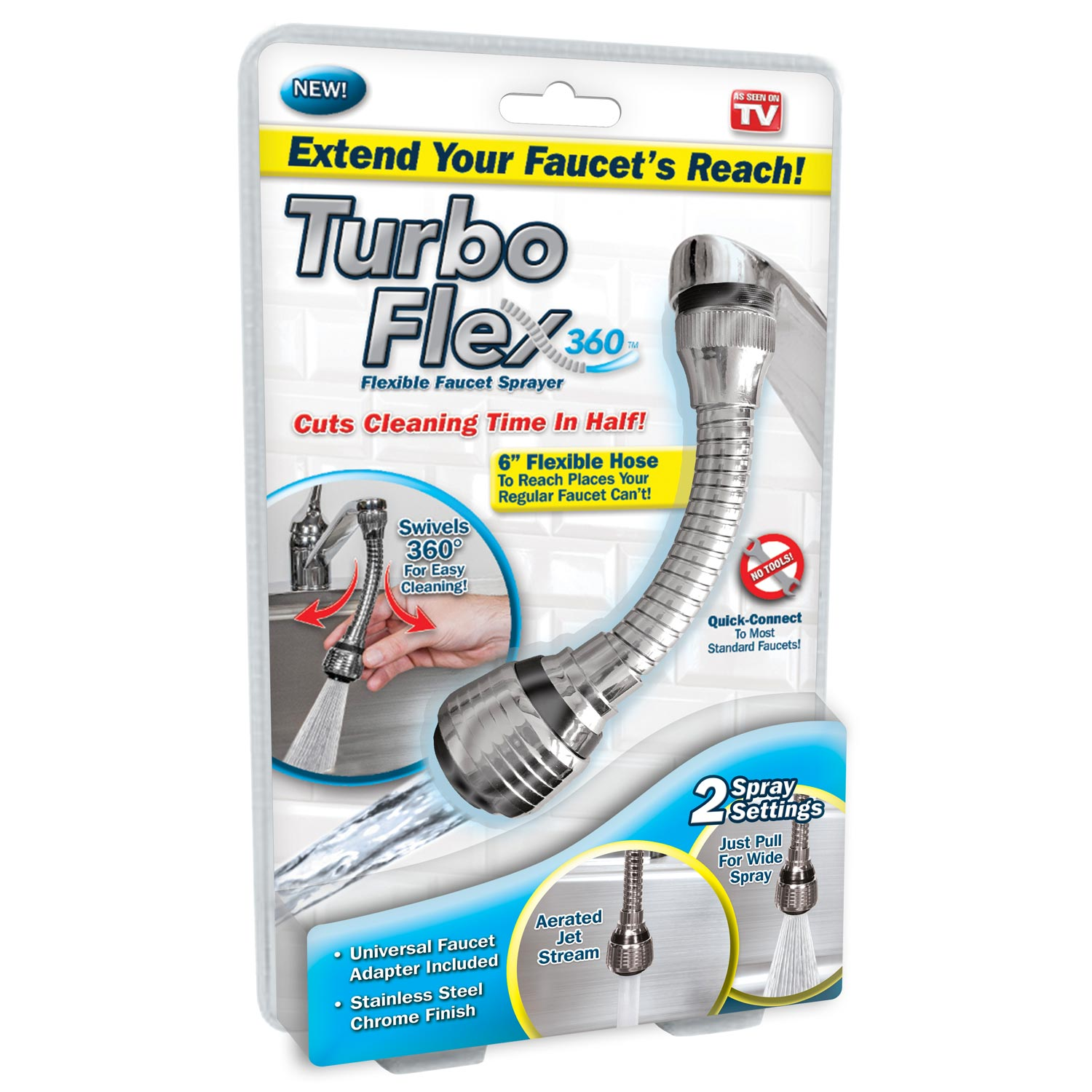 Turbo Flex 360 Instant Hands Free Faucet Swivel Spray Sink Hose ...