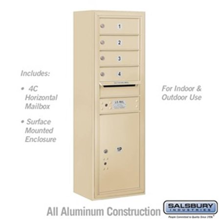 Salsbury 3811S-04SFU 42 - 0.125 in. 11 Door High Unit Single Column 4 MB 1 Doors & 1 PL5 Front Loading Surface Mounted 4C Horizontal Mailbox Unit, Sandstone - USPS