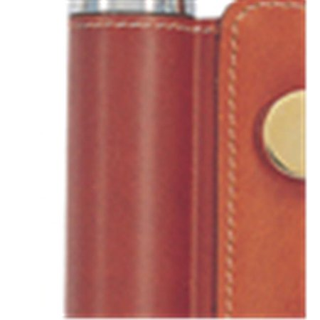 Simran 846-OT Ajmer 2 oz. Stainless Steel Flask In Brown Leather Golf Accessory Pouch