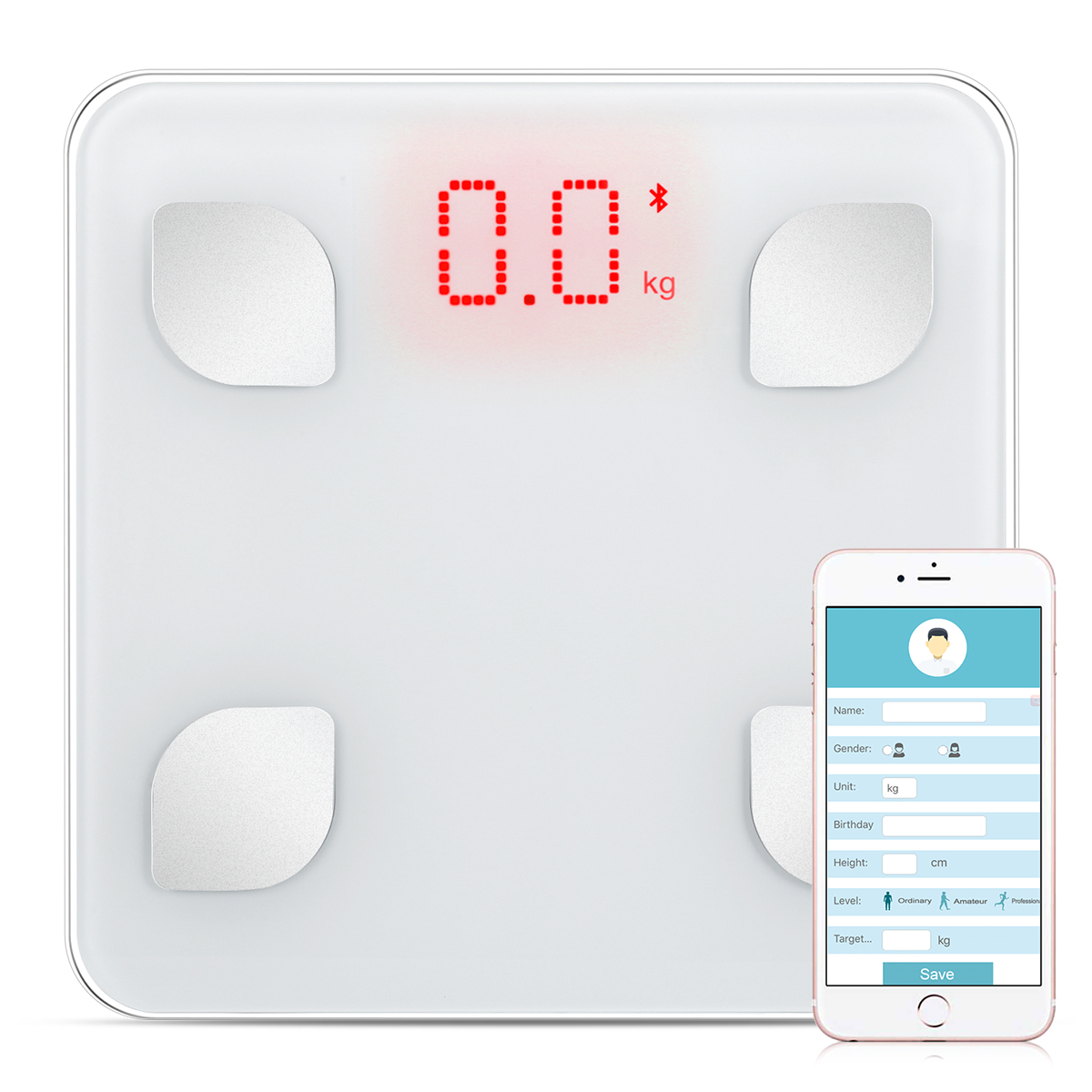 OVONNI BT Smart Body Fat Scale - Digitl Bathroom Weight Scale with iOS & Android App Cordless Body Fat Scale for Body Weight, Body Fat%, BMI, Water, Muscle Mass, 330 lbs