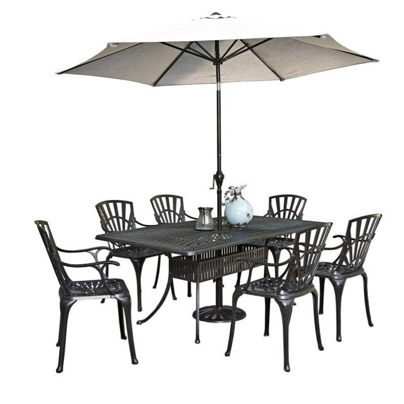 Click here to buy Bowery Hill 8 Piece Patio Dining Room Set with Umbrella in Charcoal by Bowery Hill.