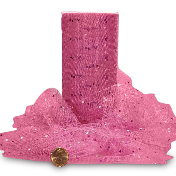 "Hot Pink Shining Polka Dot Tulle 6"" X 25 Yards by Paper Mart"