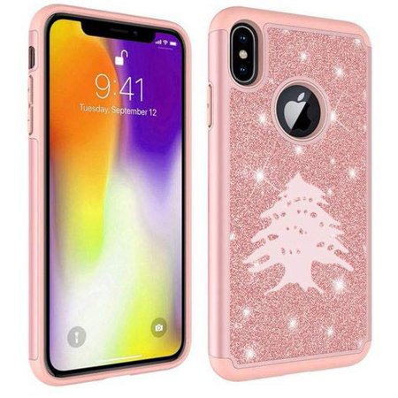 Glitter Bling Sparkle Shockproof Protective Hard Soft Case Cover for Apple iPhone Cedar Tree Lebanon Lebanese (Rose Gold, for Apple iPhone X/iPhone Xs)