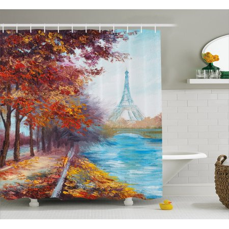 Art Shower Curtain, Eiffel Tower View from Seine River in Autumn Romantic Paris Day in Fall Cityscape Print, Fabric Bathroom Set with Hooks, Multicolor, by Ambesonne