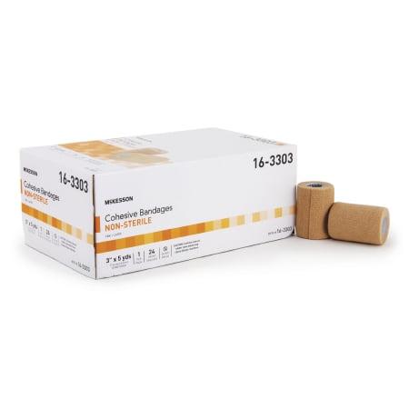 5 Yard Case - McKesson Cohesive Bandage  3 Inch X 5 Yard Standard Compression Self-adherent Closure Tan NonSterile, Case of 24