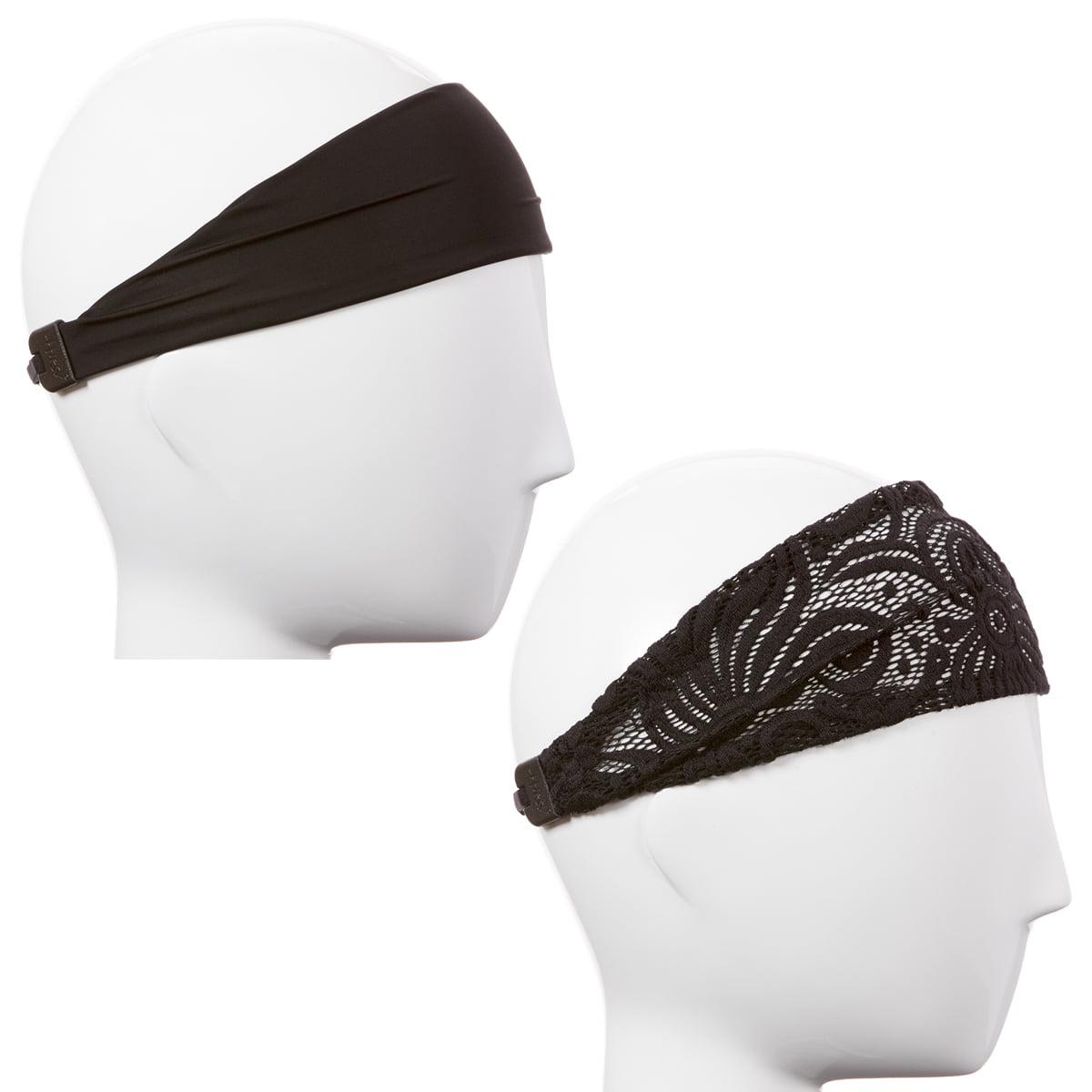 Hipsy Women's Adjustable & Stretchy Xflex Band Fashion Lace Headband 2pk (Black & Black)