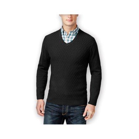 Club Room Mens Diamond-Knit V Neck Pullover Sweater deepblack S - image 1 de 1