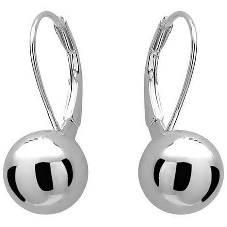 Sterling Silver 8mm Plain Polished Ball Leverback Earrings - Leverback Pattern Earrings