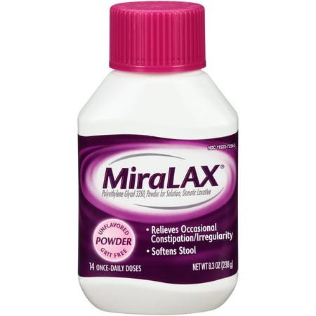 MiraLAX Polyethylene Glycol 3350 Powder Laxative, 8.3 Oz, 14