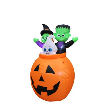 The Holiday Aisle Pumpkin Basket with Baby Ghost, Witch and Monster Yard Halloween Inflatable - Easy Halloween Yard Decorations+homemade